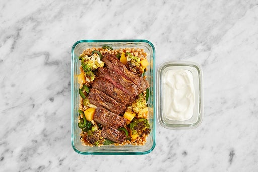Assemble & Store the Seared Steak & Lemon Yogurt