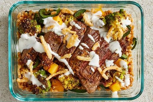 Finish & Serve the Seared Steak & Lemon Yogurt