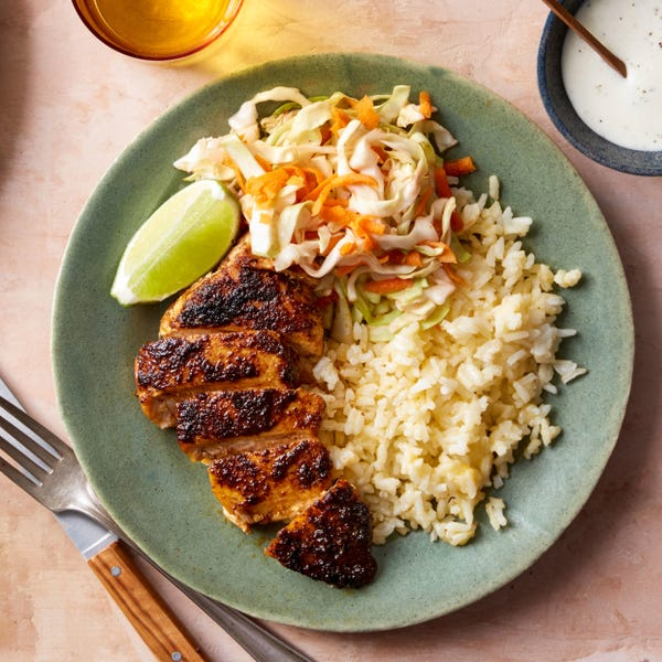 Tex-Mex Chicken & Cheesy Rice with Cone Cabbage & Carrot Slaw