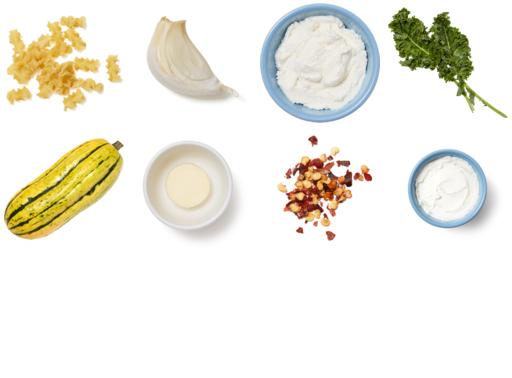 Mafalda Pasta & Delicata Squash with Kale & Ricotta Cheese