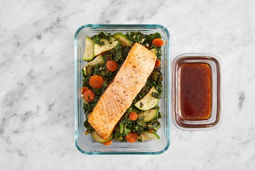 Assemble & Store the Roasted Salmon & Veggies