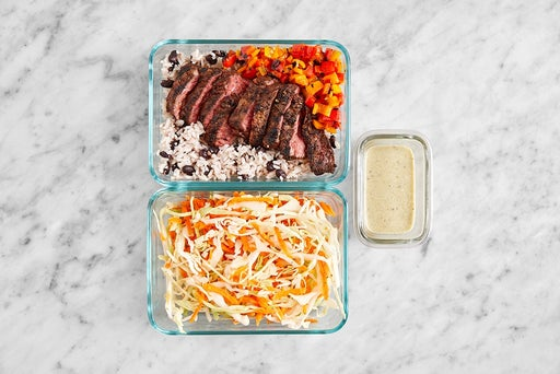 Assemble & Store the Grilled Steak Tacos & Slaw