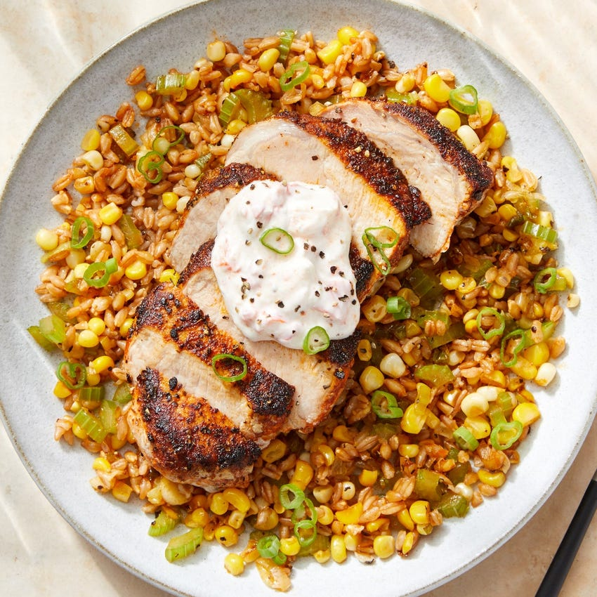 Cajun-Style Pork & Farro Salad with Pepper Yogurt