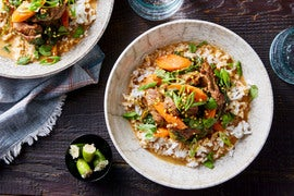 Spicy Beef Curry with Crispy Mung Beans