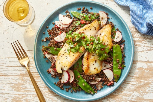 Seared Tilapia & Gremolata with Lentils, Snow Peas & Creamy Mustard Dressing