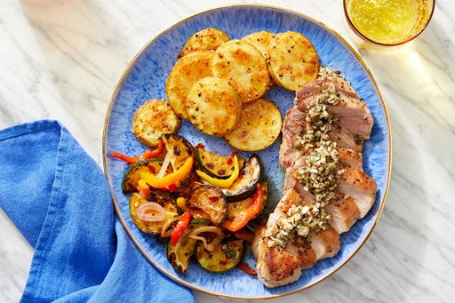 Pork Chops & Almond Salsa Verde with Zucchini & Peppers