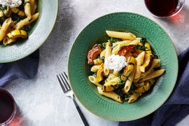 Penne Pasta & Delicata Squash with Kale & Ricotta Cheese