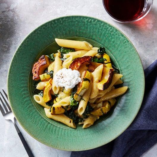 Penne Pasta & Delicata Squash with Kale & Ricotta Cheese