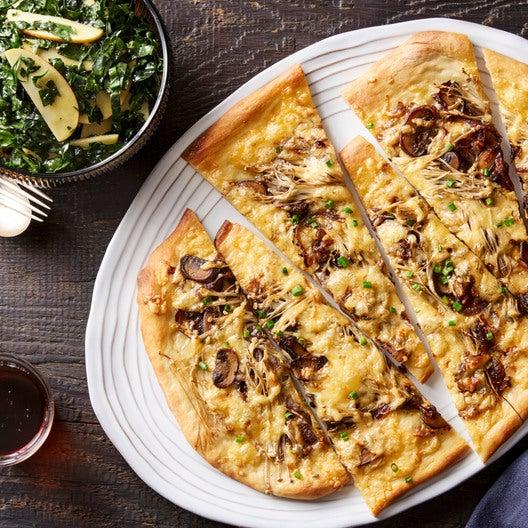 Smoked Gouda & Mushroom Flatbread with Kale & Apple Salad