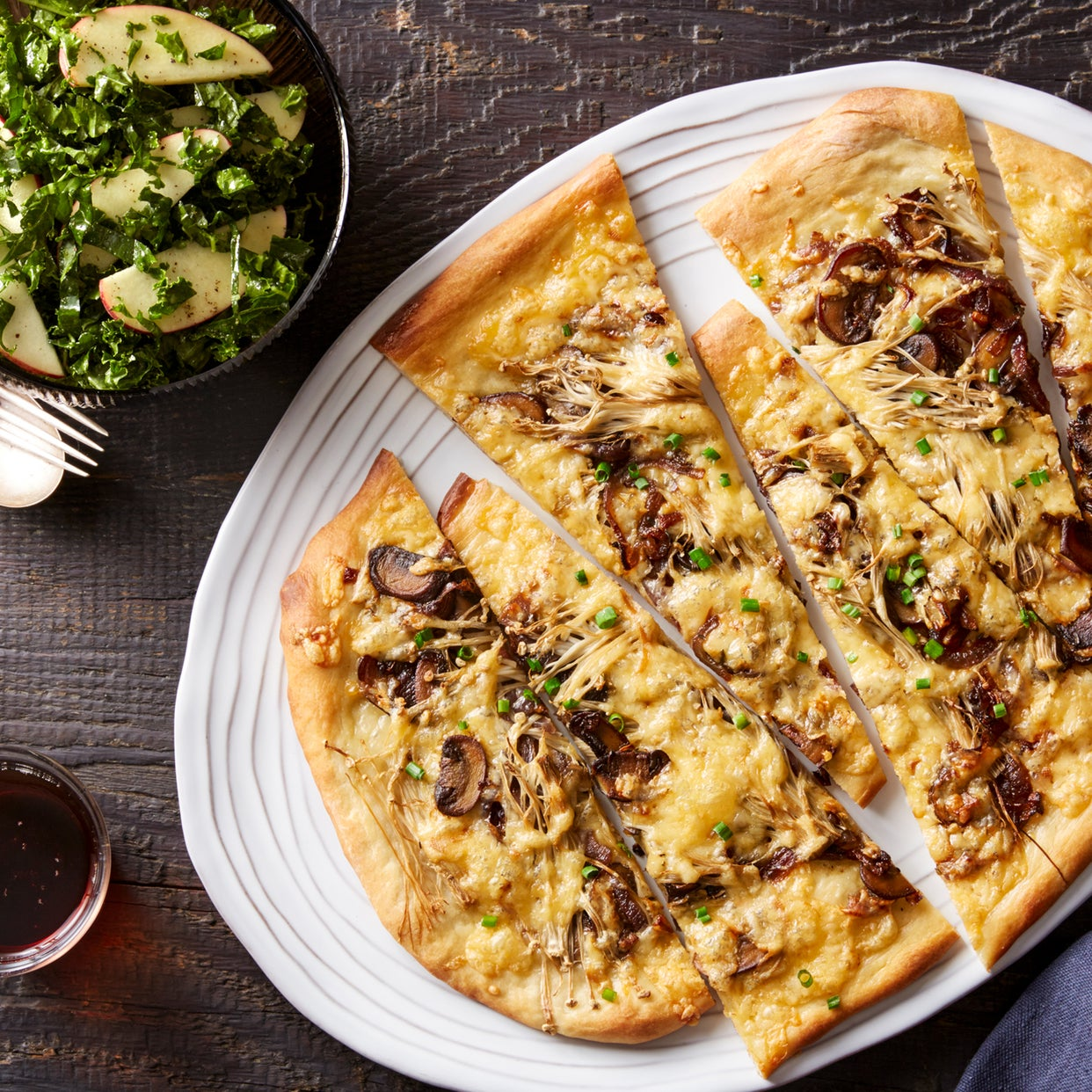 Smoked Gouda & Mushroom Flatbread with Kale & Apple Salad