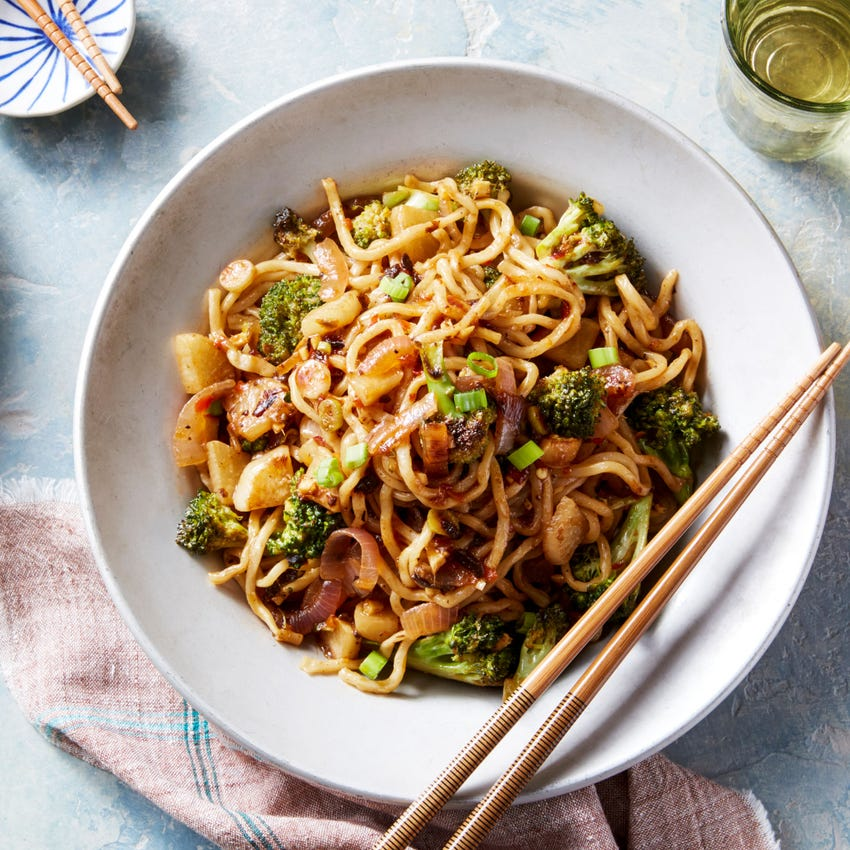 Spicy Sesame Lo Mein with Broccoli & Turnip