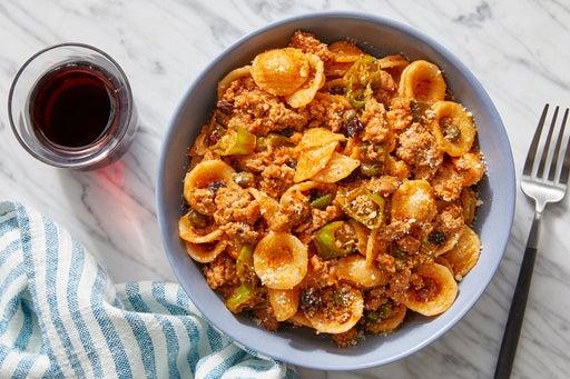 Spiced Pork & Orecchiette Pasta with Currants & Shishito Peppers
