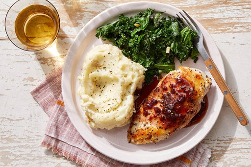 Seared Chicken & Mashed Potatoes with Fig Pan Sauce