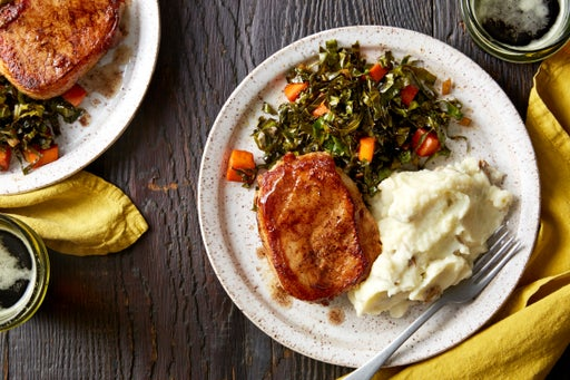 Pork Chops & Mashed Potatoes with Maple-Stewed Collard Greens