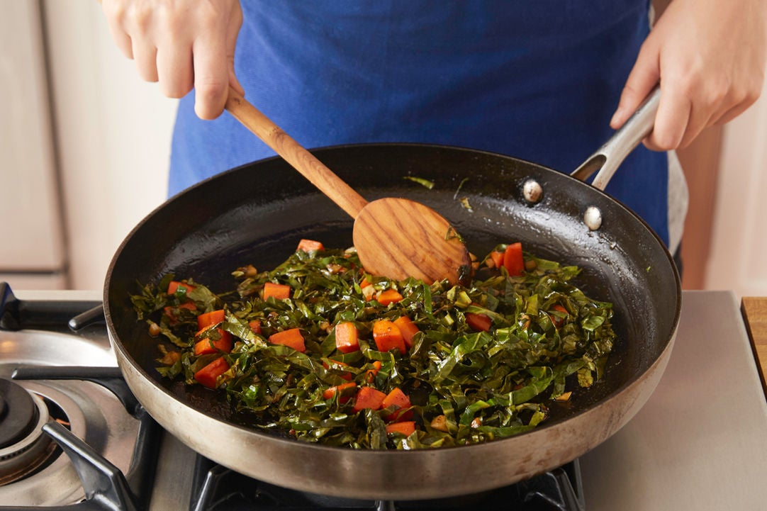 Stew the collard greens:
