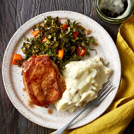 Seared Pork Chops & Mashed Potatoes with Maple-Stewed Collard Greens
