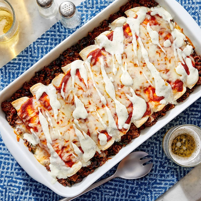 Beyond Beef™ & Quinoa Enchiladas with Black Beans & Monterey Jack Cheese