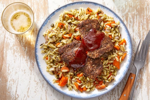 Harissa-Maple Chicken Thighs & Orzo Salad with Carrots & Salsa Verde