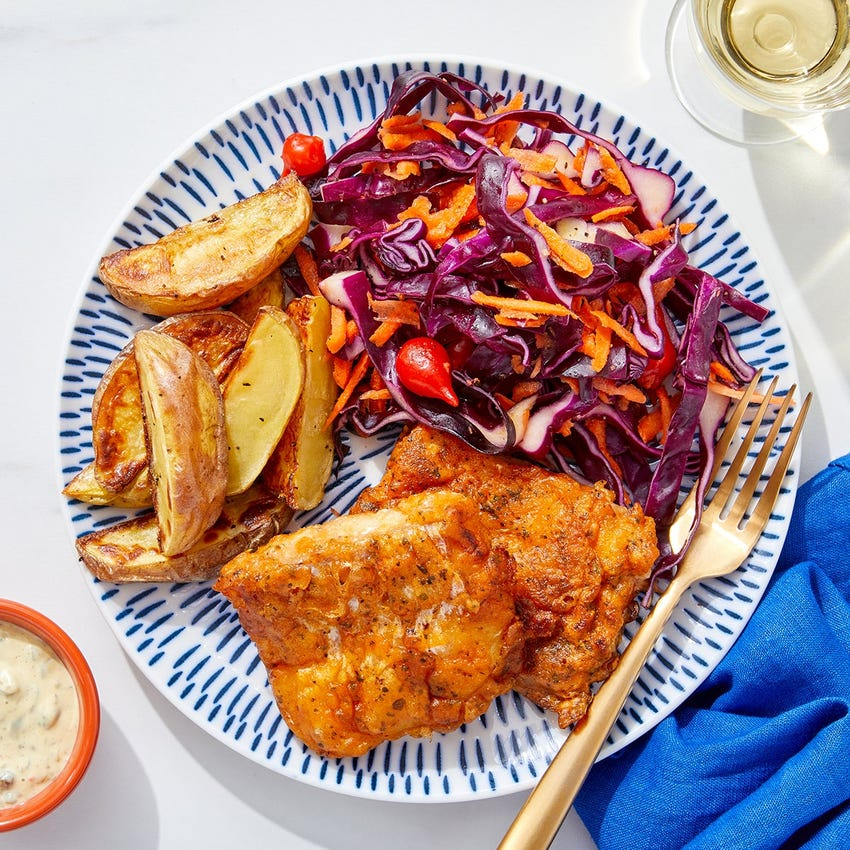 Cod Fish & Chips with Cabbage Slaw & Caper Mayo