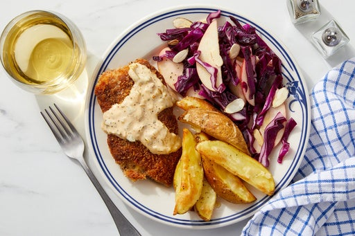Cajun Fish & Roasted Potatoes with Apple Cabbage Slaw