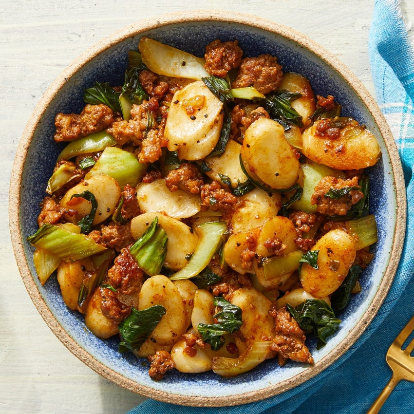 Korean Pork & Rice Cakes with Bok Choy