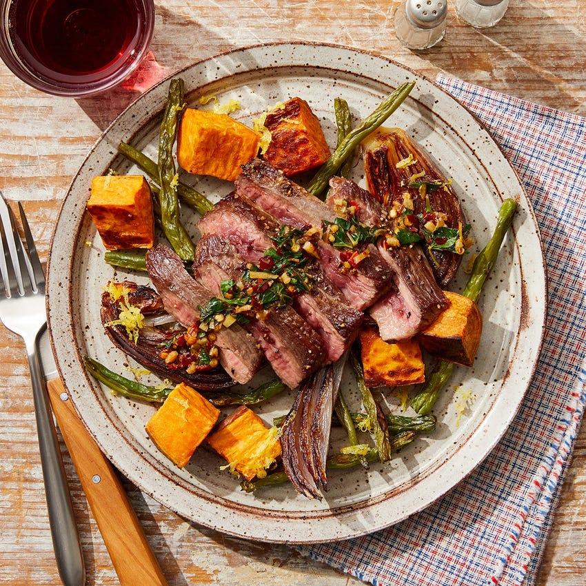 Seared Steak & Lemon Salsa Verde with Roasted Vegetables