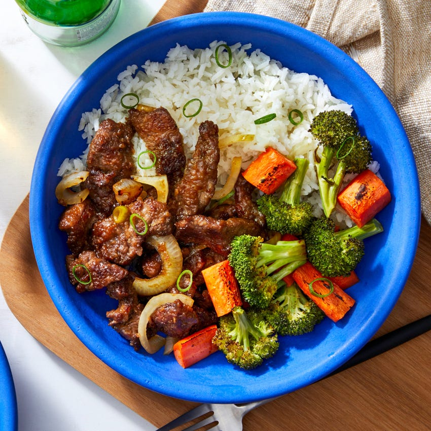 Japanese Beef & Rice Bowls with Roasted Broccoli & Carrots