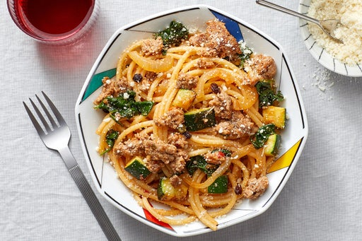 Spiced Beef & Bucatini Pasta with Zucchini & Spinach