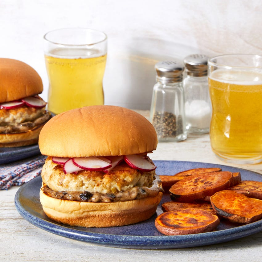 Lemongrass-Ginger Turkey Burgers with Roasted Sweet Potatoes & Black Bean Mayo