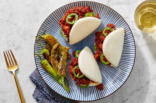 Hoisin Pork & Jalapeño Steam Buns with Ponzu-Dressed Shishito Peppers