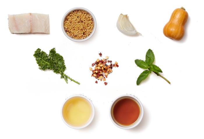 Barramundi & Fregola Sarda Pasta with Honeynut Squash Agrodolce & Garlic Kale