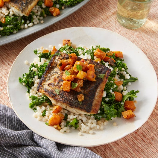 Barramundi & Couscous with Honeynut Squash Agrodolce & Garlic Kale