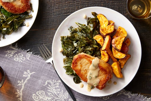 Maple Gravy-Smothered Pork Chops with Stewed Collard Greens & Sweet Potatoes