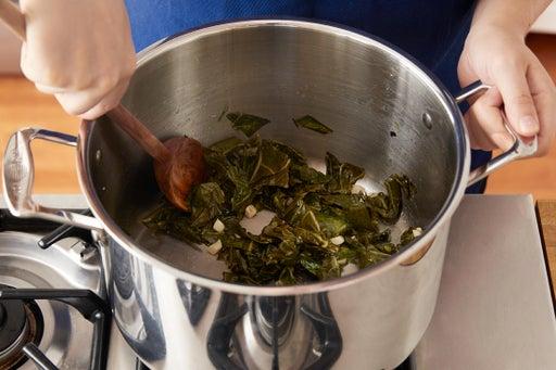 Stew the collard greens: