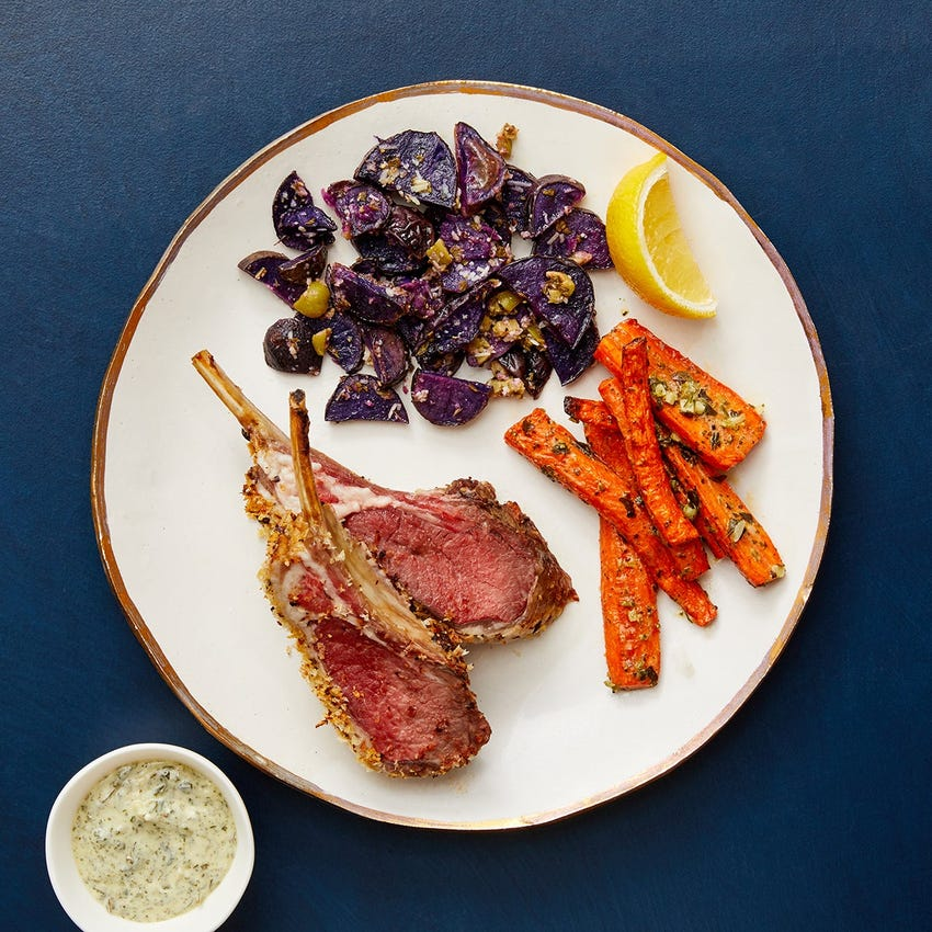 Dijon & Panko-Crusted Lamb Chops with Salsa Verde Carrots & Garlicky Purple Potatoes