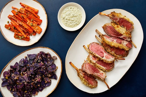 Dijon & Panko-Crusted Lamb Chops with Salsa Verde Carrots & Garlicky Purple Potatoes