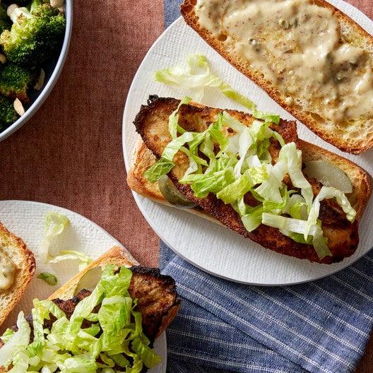 Cajun-Spiced Catfish Sandwiches with Roasted Broccoli & Rémoulade Sauce