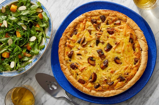 Smoked Gouda & Mushroom Quiche with Arugula Salad & Honey Vinaigrette