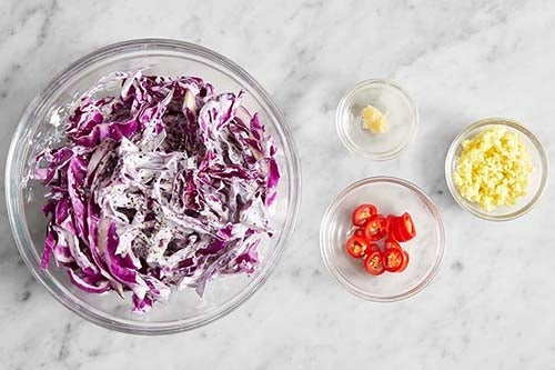 Prepare the remaining ingredients & make the slaw