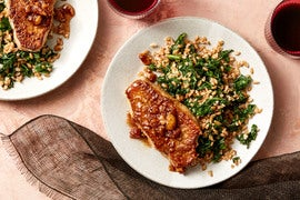 Fennel-Crusted Pork Chops & Fig Compote with Sautéed Kale & Farro Salad