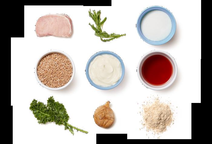 Fennel-Crusted Pork Chops & Fig Compote with Sautéed Kale & Farro Salad