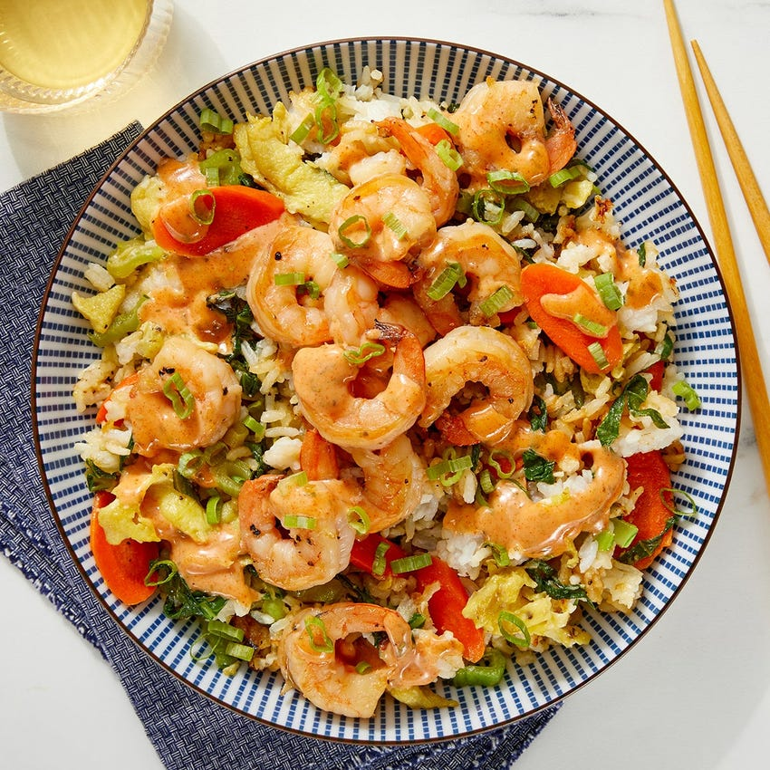 Hibachi-Style Shrimp Fried Rice with Spiced Mayo