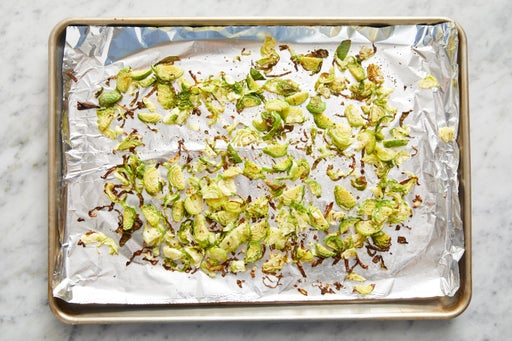 Prepare & roast the brussels sprouts