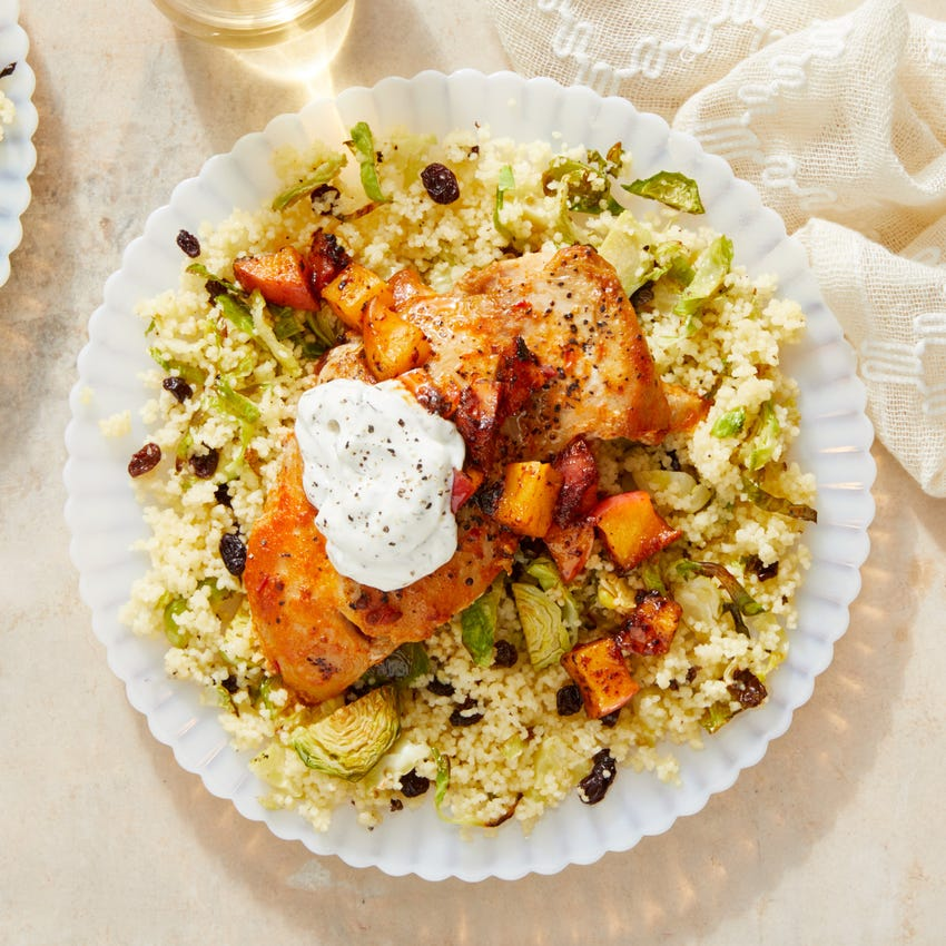 Seared Chicken Thighs & Couscous with Tomato Chutney-Glazed Apple