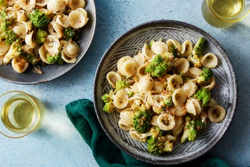 Roasted Cauliflower Pasta with Lemon, Capers, & Garlic Breadcrumbs