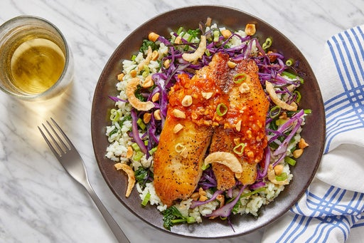 Spicy Ponzu Tilapia & Coconut Rice with Spinach, Cabbage & Peanuts