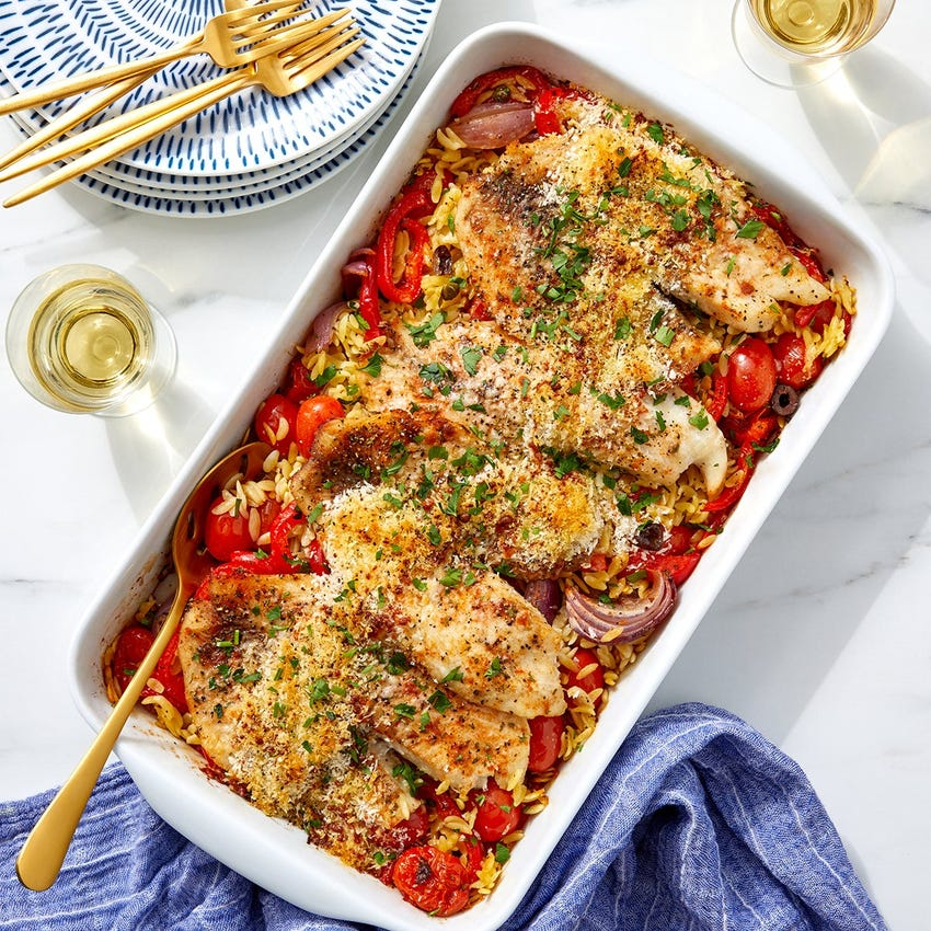 Baked Tilapia & Vegetable Agrodolce with Orzo Pasta