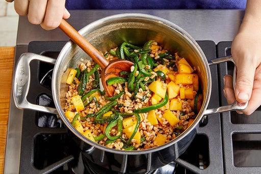 Cook the poblano pepper & finish the farro
