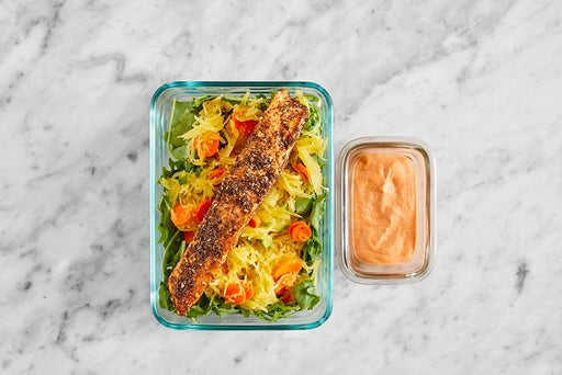 Assemble & Store the Za'atar Salmon & Spaghetti Squash