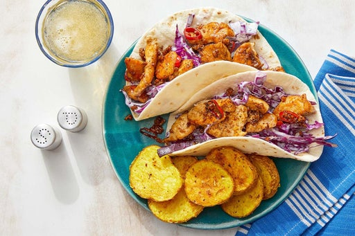 Spicy Ginger Chicken Tacos with Curry-Roasted Potatoes